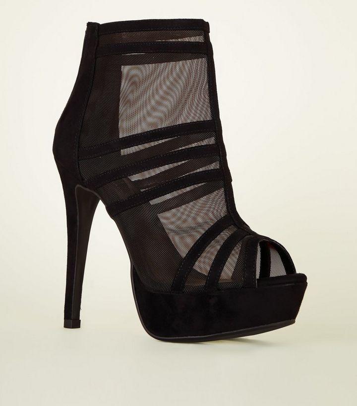 09b62474a2e0 Black Strappy Mesh Platform Stiletto Shoe Boots