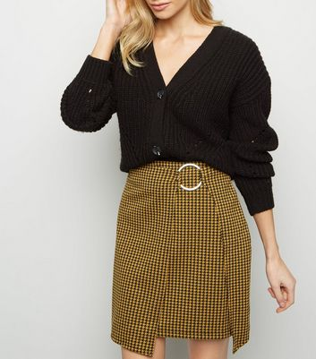 Mustard Houndstooth Ring Wrap Skirt