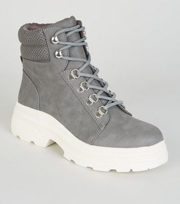 Girls Grey Leather-Look Lace Up Boots