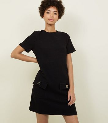 Black Bouclé Pocket Front Tunic Dress