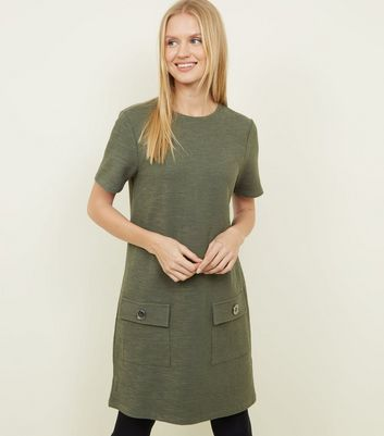 Khaki Bouclé Pocket Front Tunic Dress