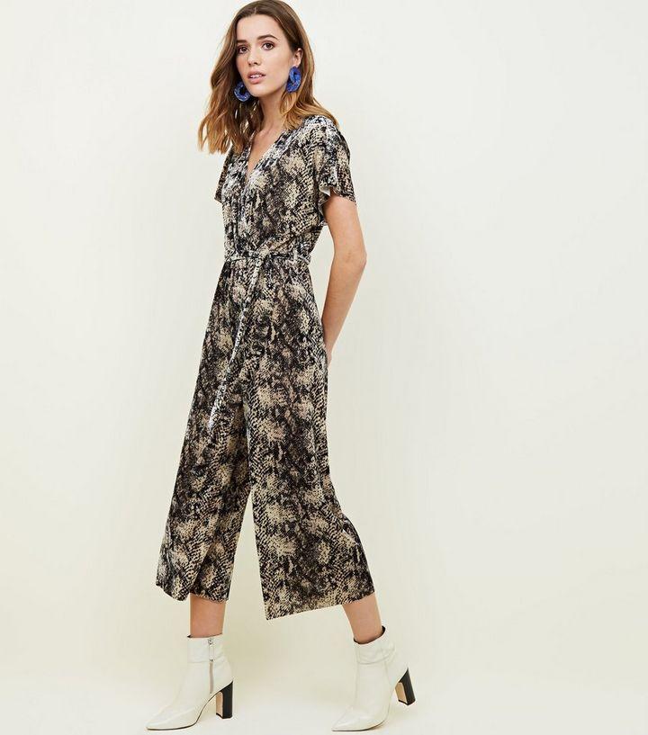 2a7470916f5d Brown Velvet Snake Print Wrap Culotte Jumpsuit