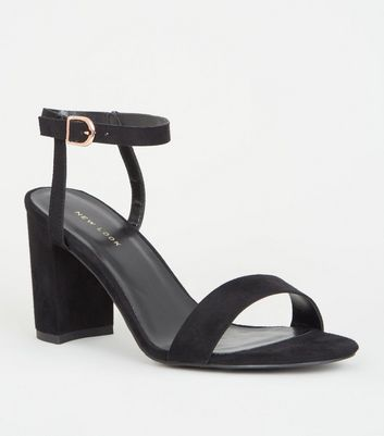 Black Suedette Two Part Block Heels by New Look