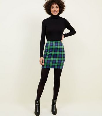 Blue Check Tube Skirt