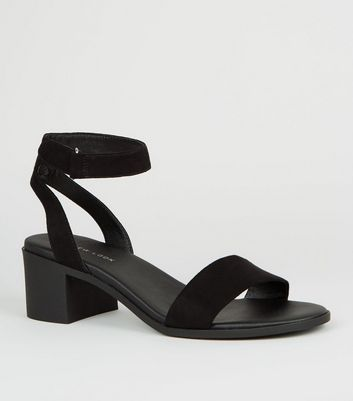 Black Suedette Low Block Heel Sandals