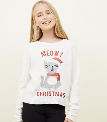 Girls Cream Meowy Christmas Jumper