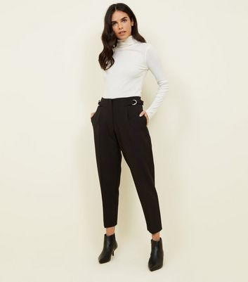Black D-Ring Side Tapered Trousers