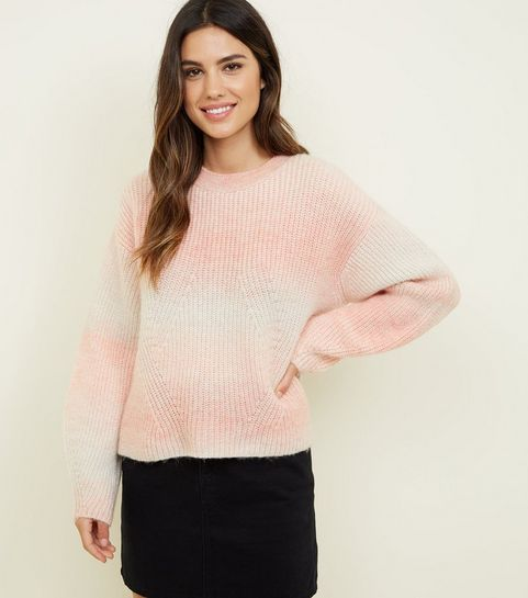 be1040289a ... Pale Pink Space Dye Brushed Jumper ...