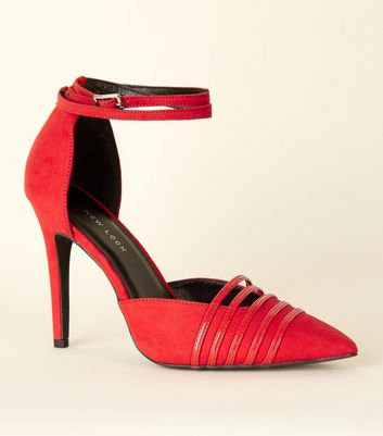 Wide Fit Red Suedette Strappy Stiletto Courts
