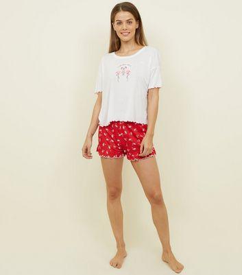 red flamingle bells frill hem pyjama set