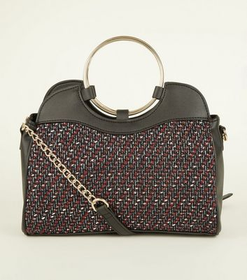 Black Bouclé Ring Top Handle Bag