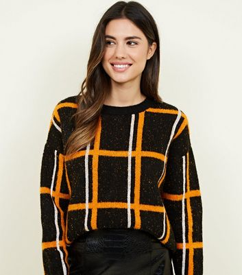 Orange Grid Check Jumper