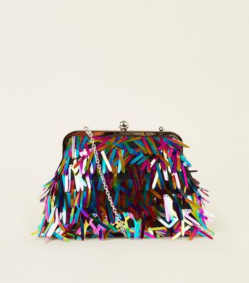 Rainbow Sequin Clip Fastening Clutch Bag Add to Saved Items Remove from Saved Items