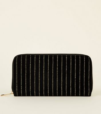Black Glitter Gold Stripe Large Zip Purse