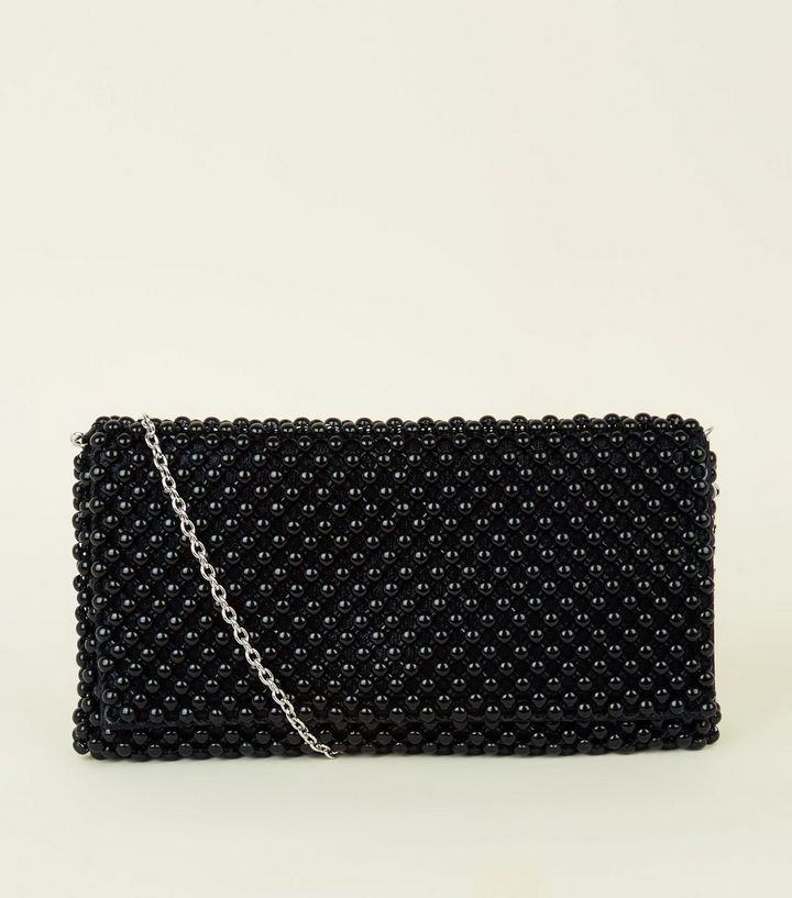b4e9feaeafc Black Beaded Foldover Clutch Bag | New Look