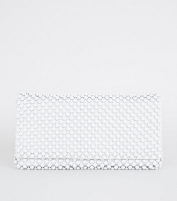 White Beaded Foldover Clutch Bag