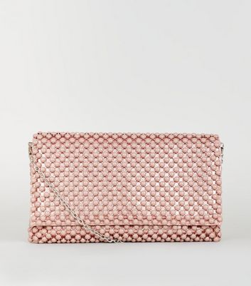 Nude Beaded Foldover Clutch Bag