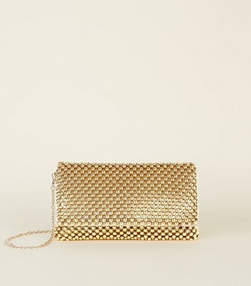 Gold Beaded Foldover Clutch Bag