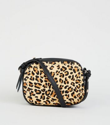Brown Leather Leopard Print Cross Body Bag