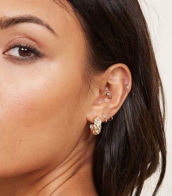 3 Pack Brown Leopard and Gold Huggie Hoop Earrings New Look