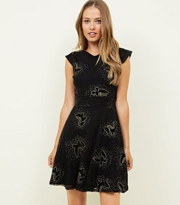 Mela Butterfly Embellished Glitter Skater Dress