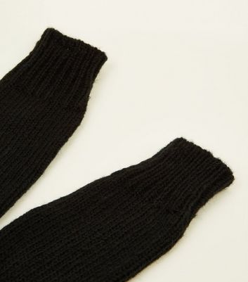 Black Knitted Arm Warmers New Look