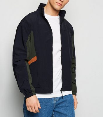 Navy Colour Block Funnel Neck Jacket