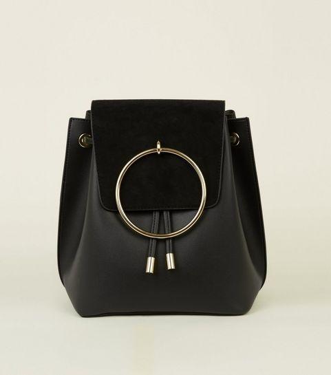 Black Metal Ring Front Backpack