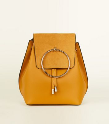 Mustard Metal Ring Backpack