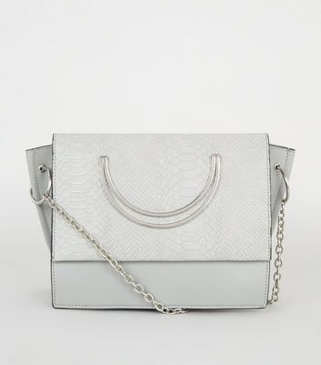 Grey Metal Circle Handle Cross Body Bag