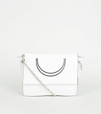 White Metal Circle Handle Cross Body Bag