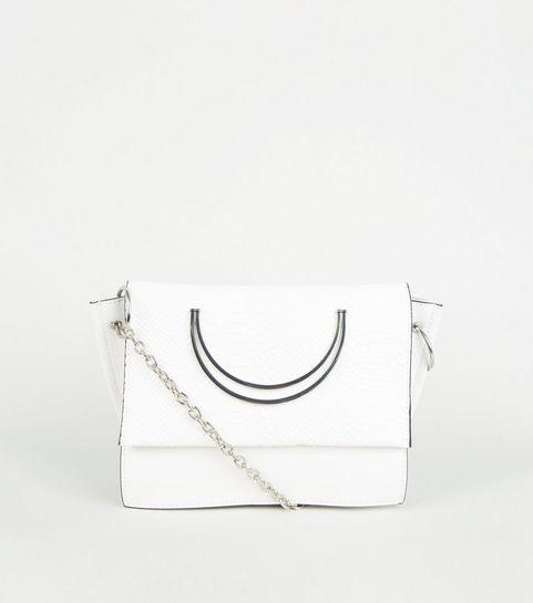 d4e74b247bc3 ... White Metal Circle Handle Cross Body Bag ...