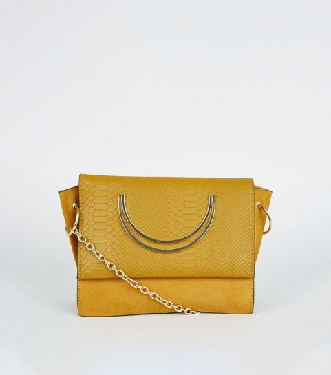 3c743cb615f8 ... Mustard Faux Snake Circle Handle Cross Body Bag ...