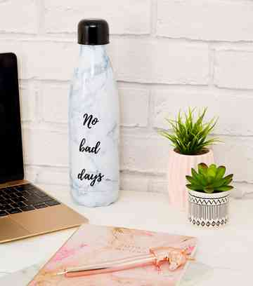 Grey Marble Effect Metal 500ml Drinking Bottle