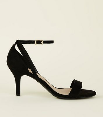 Wide Fit Black Kitten Heel Sandals
