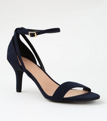 Wide Fit Navy Mid Stiletto Heel Sandals