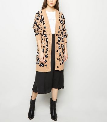 Brown Leopard Print Knitted Cardigan