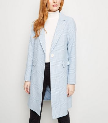 Pale Blue Houndstooth Check Print Longline Coat