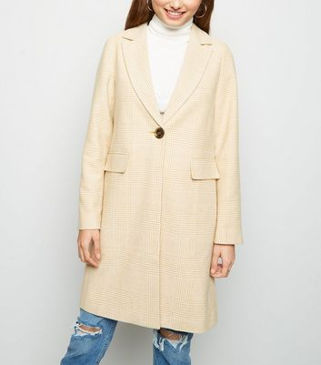Yellow Pastel Brushed Check Coat