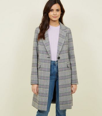 Black Multi Check Longline Coat