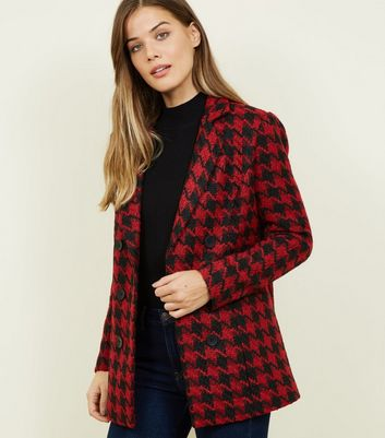 Red Houndstooth Check Jacket