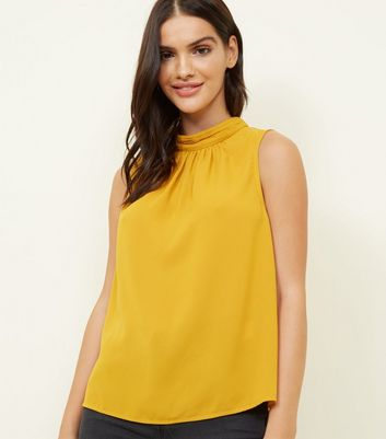 Yellow Gathered Neck Sleeveless Top