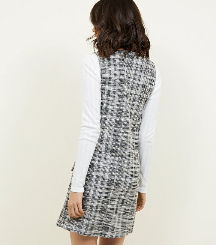 170cabd55cab Grey Bouclé Check Sleeveless Tunic Dress
