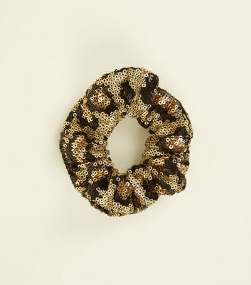 Brown Leopard Print Sequin Scrunchie