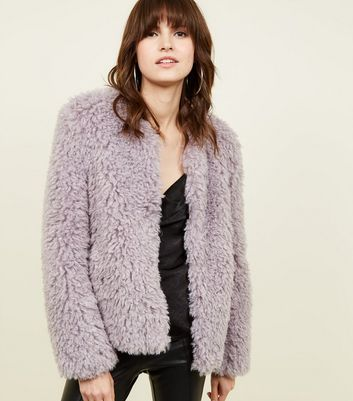 Lilac Curly Faux Fur Jacket