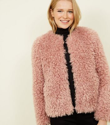Pink Curly Faux Fur Jacket