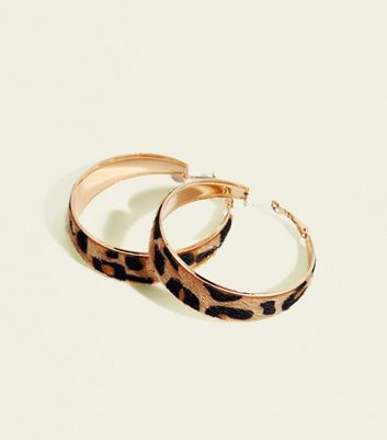 Brown Leopard Print Wide Hoop Earrings