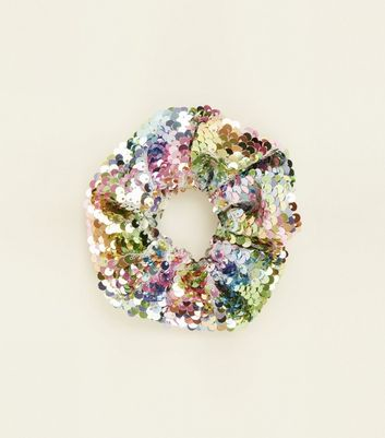 Pastel Rainbow Sequin Scrunchie