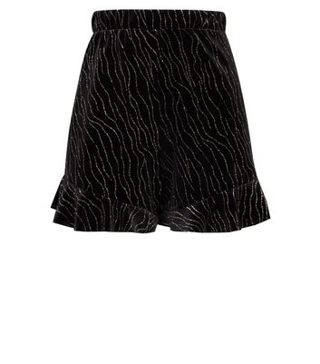 Black Zebra Glitter Print Velvet Frill Hem Shorts New Look