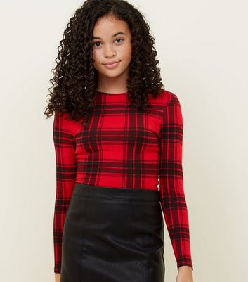 Girls Red Check Long Sleeve Top